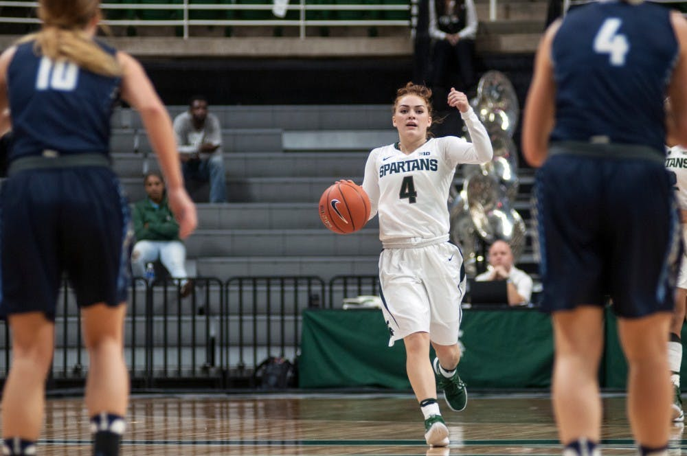 Freshman guard Taryn McCutcheon (4) brings the ball up the court during an exhibition game against Northwood University on Nov. 6, 2016 at the Breslin Center. The Spartans defeated the Timberwolves 82-47.