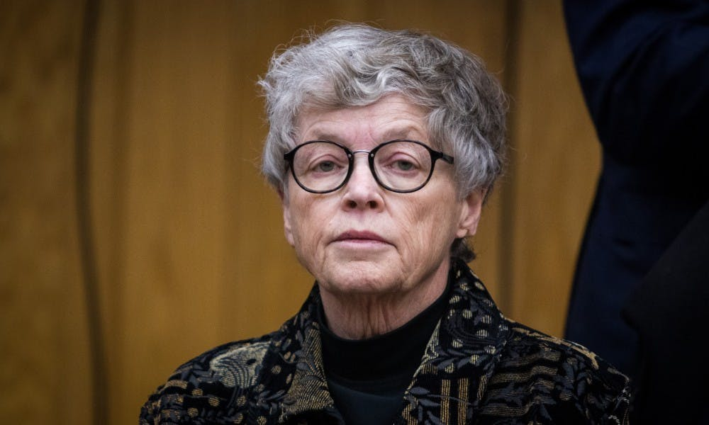Former Michigan State President Lou Anna K. Simon during her arraignment at the Eaton County Courthouse on Nov. 26, 2018. She is being charged with four counts of lying to a Peace Officer about the Nassar Investigation.
