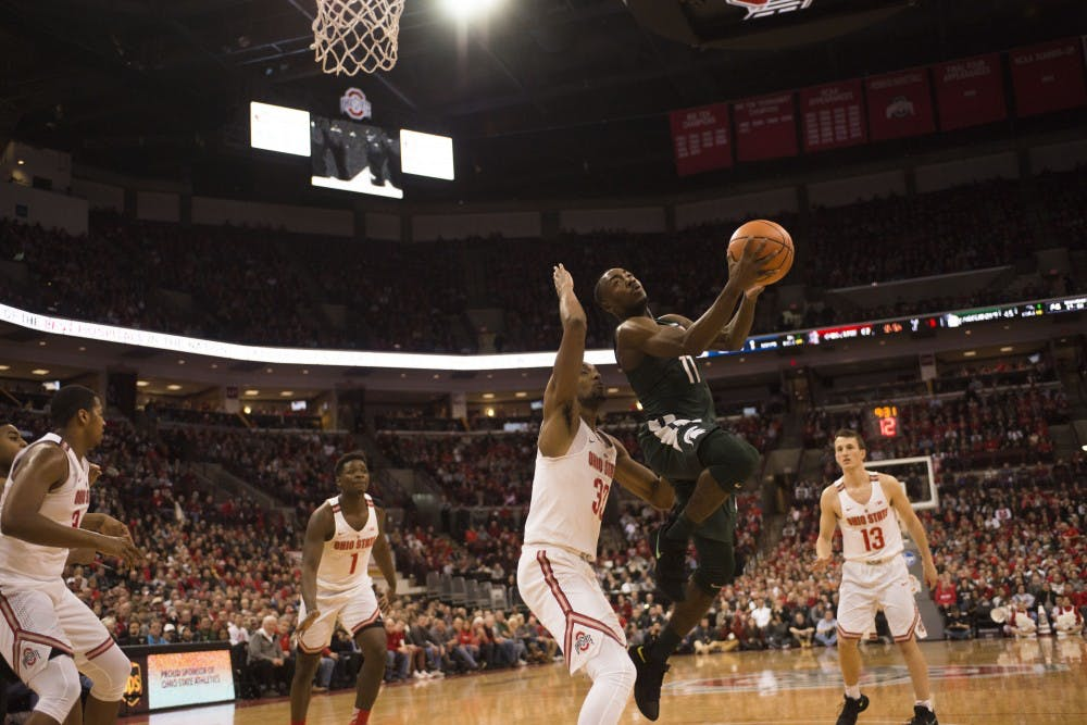 Senior guard Lourawls Nairn Jr. goes for the basket during the MSU vs. Ohio State Game. The Spartans would lose 80-64