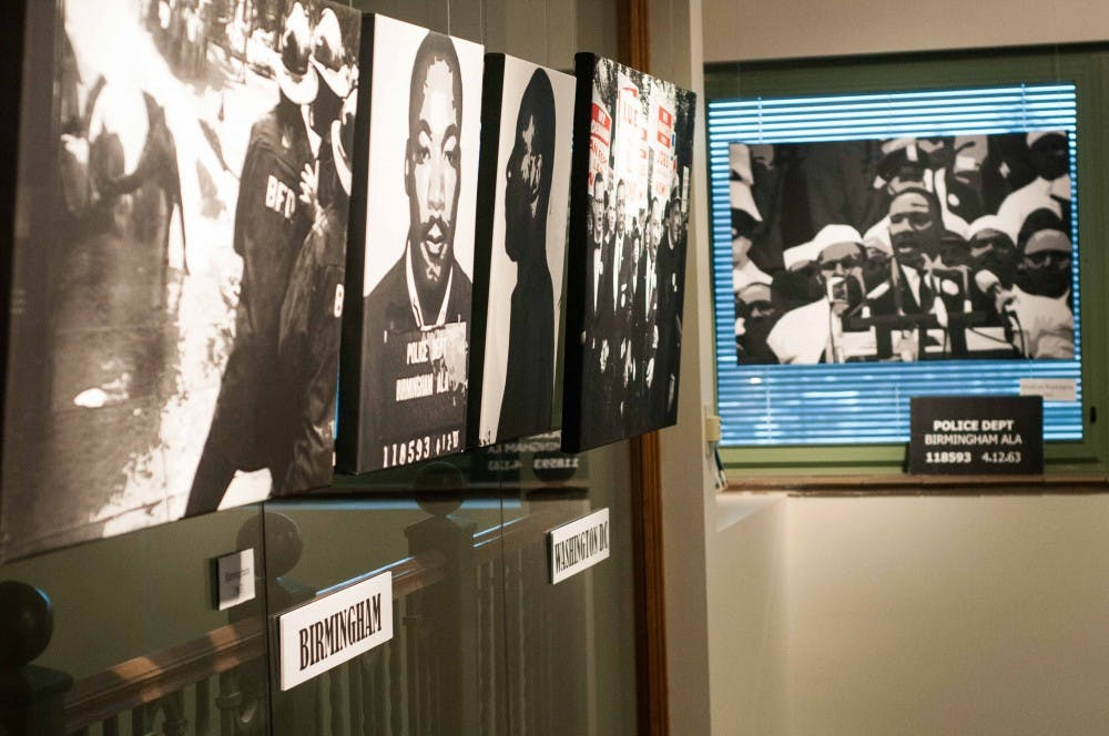 <p>The Martin Luther King Jr. art exhibit on March 27, 2018 at the Hannah Community Center Art Gallery. (Annie Barker | State News)</p>