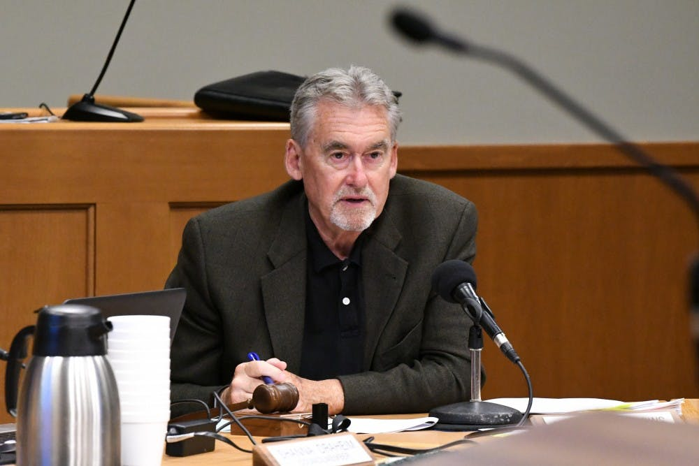 <p>Mayor Mark Meadows at the July 16 East Lansing Council Meeting.</p>