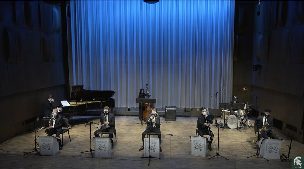 <p>MSU Jazz Octet 3 recording in Murray Hall for a virtual performance. Courtesy photo</p>