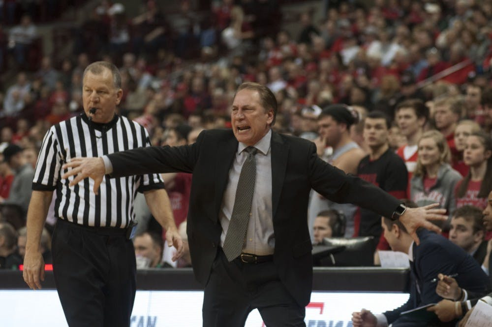 Head coach Tom Izzo reacts during the MSU vs. Ohio State game. The Spartans lost 80-64.