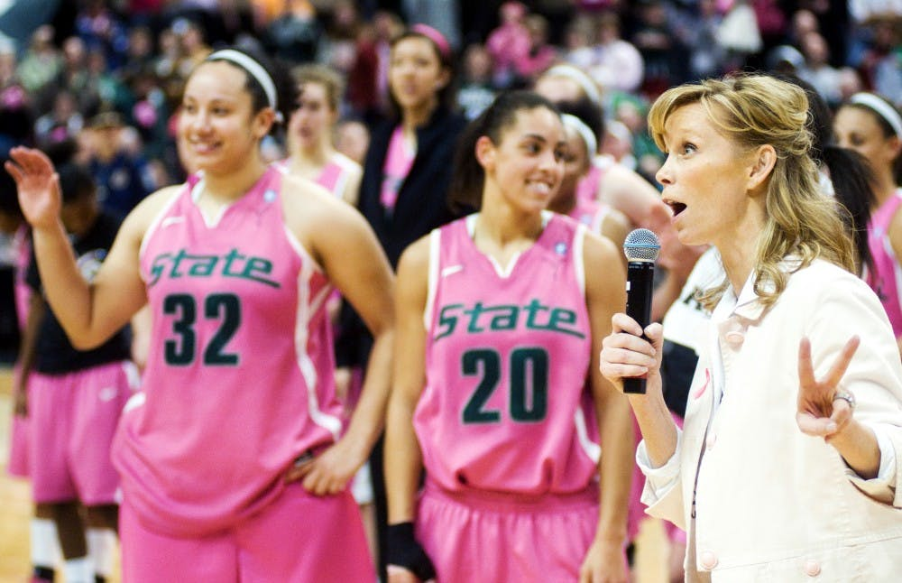 Headcoach Suzy Merchant thanks the first ever sold out crowd after her team defeated Michigan Sunday afternoon at Breslin Center. The Spartans took down the Wolverines 69-56. Matt Hallowell/The State News