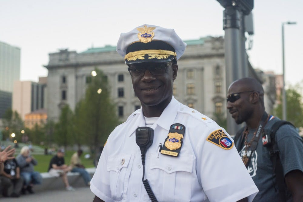 Cleveland Police Chief Calvin Williams poses for a photo on July 20, 2016 at Public Square in Cleveland, Ohio.
