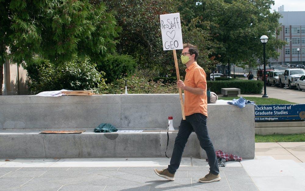 <p>University of Michigan graduate student striking on Friday, Sept. 11, 2020.</p>