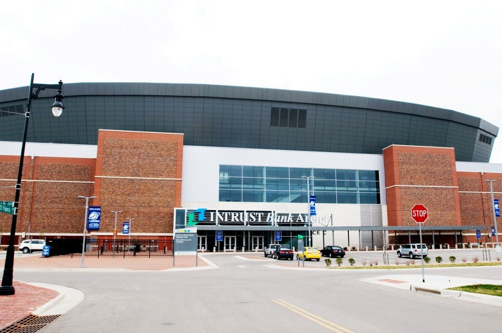 The INTRUST Bank Arena in Wichita, Kan., normally houses the local hockey team, Wichita Thunder, but is hosting the NCAA women's basketball tournament's first- and second-round games for the first time. The game between MSU and Northern Iowa was the fifth basketball game ever played in the arena since it was built in 2009. Lauren Wood/The State News