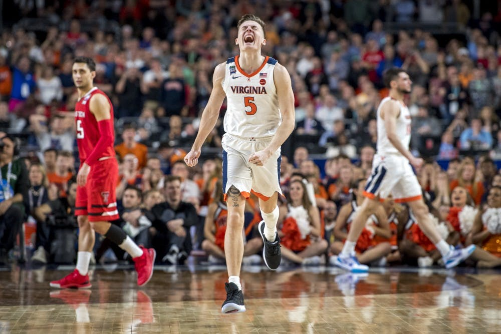 Virginia guard Kyle Guy (5) expresses emotion during the overtime of the NCAA Tournament Championship game between Texas Tech and Virginia at U.S. Bank Stadium in Minneapolis on April 8, 2019. Virginia defeated Texas Tech in overtime 85-77. (Nic Antaya/The State News)
