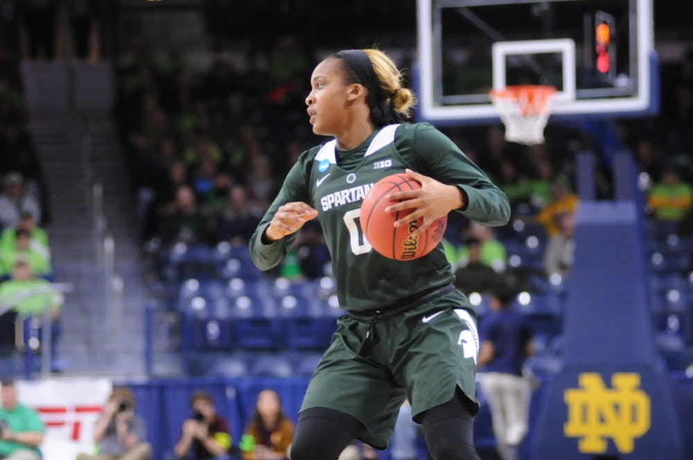 <p>Michigan State junior guard Shay Colley dribbles up court in Round 1 of the 2019 NCAA tournament</p>
