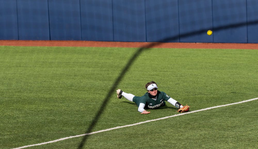 Trivelpiece dives and misses the ball resulting in Michigan scoring a run in the bottom of the fifth inning. The Wolverines crushed the Spartans in a 6-1 win back on their home turf on April 14, 2021.