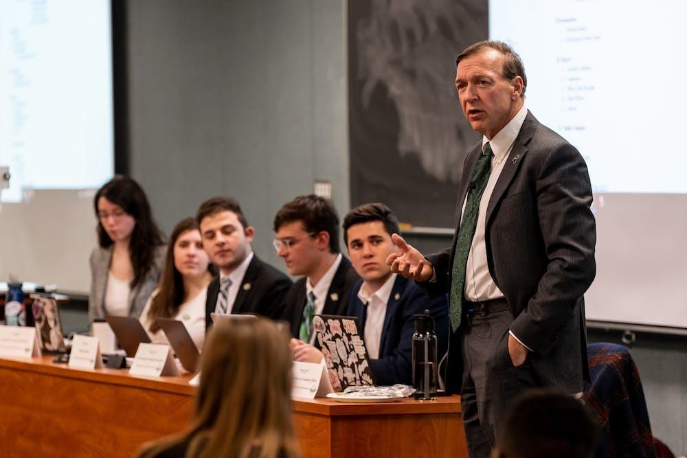 <p>MSU President Samuel L. Stanley Jr. speaks during an ASMSU general assembly meeting on Jan. 16, 2020 at the MSU International Center. </p>
