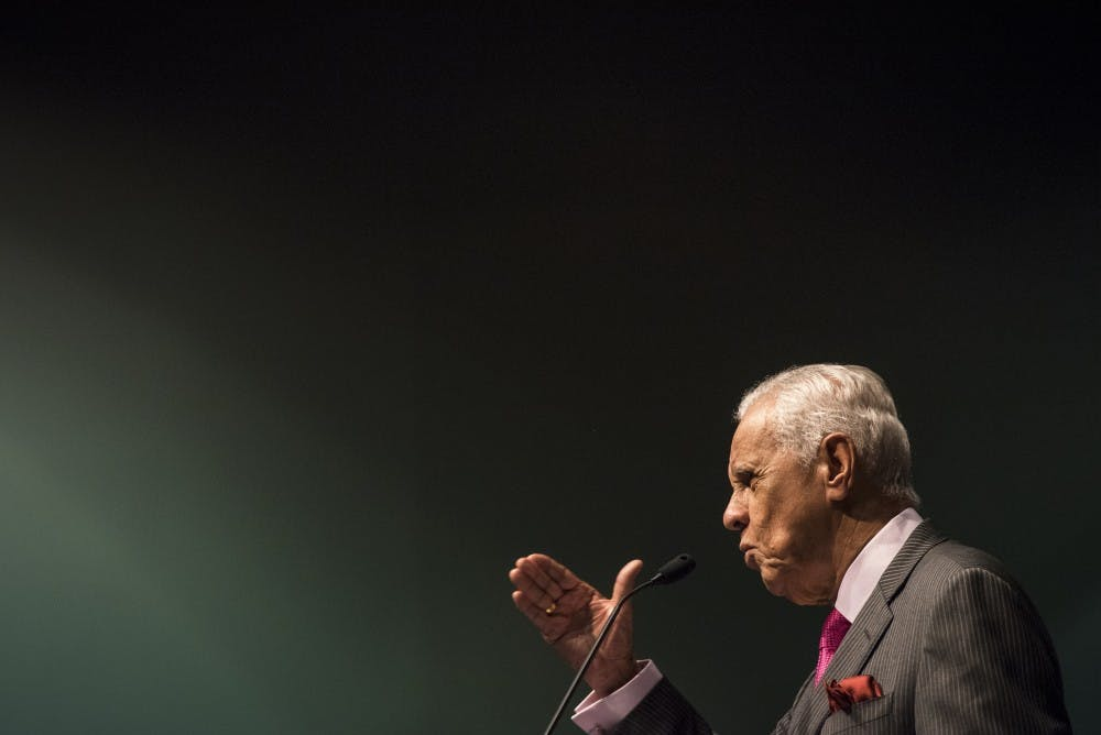 Former Virginia Gov. L. Douglas Wilder addresses the crowd during the 34th Annual Dr. Martin Luther King Jr. Luncheon Celebration at the Lansing Center in Lansing on Jan. 21, 2019. Nic Antaya/The State News
