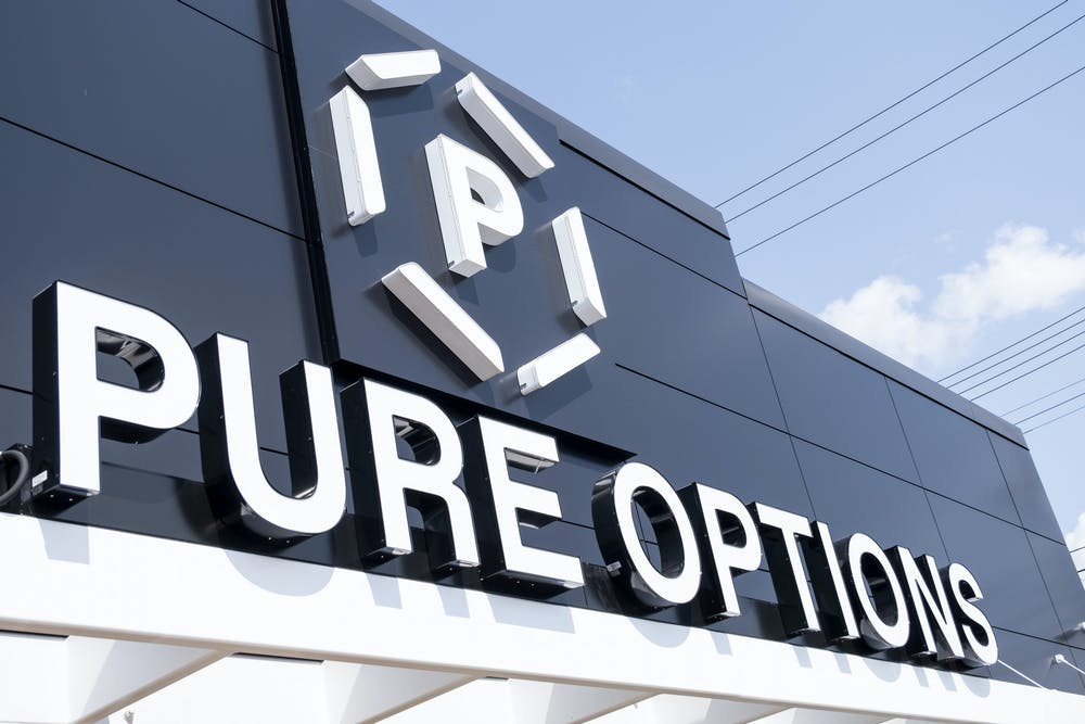 <p>Pure Options cannabis shop opened on Aug. 23, 2021 on the outskirts of Frandor Shopping Center. Shot on Sept. 14, 2021.</p>