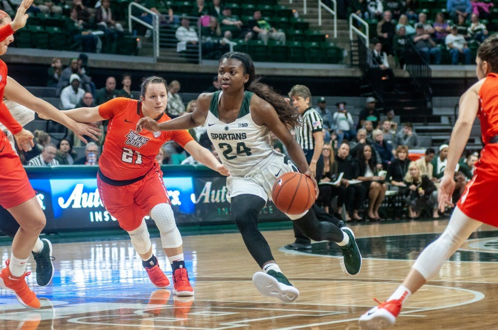 Freshman guard Nia Clouden (24) takes the ball during the game against Bowling Green on Nov. 6, 2018 at Breslin Center. The Spartans lead the Falcons at halftime, 20-15.