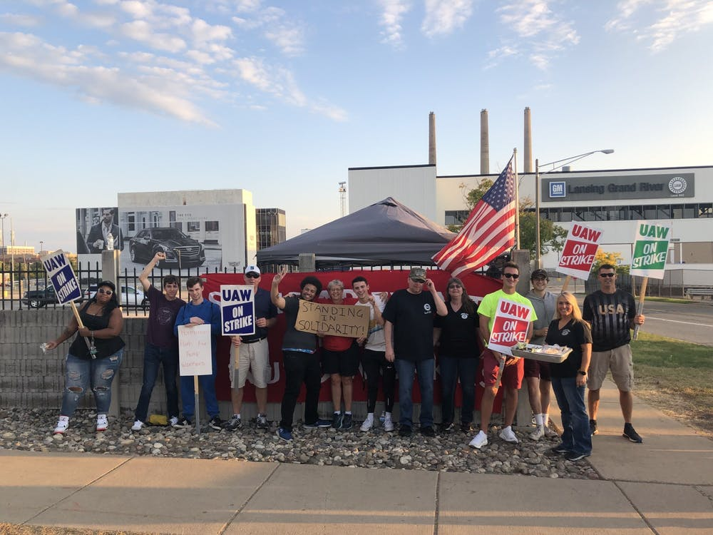 <p>COURTESY: Spartans for Sanders at the UAW Strike on Sept. 22, 2019. </p>