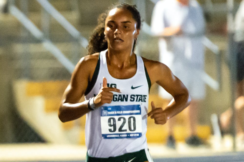 <p>India Johnson competing in the women&#x27;s 10,000-meter run at the NCAA Preliminary meet in Jacksonville, Florida from May 26-29 - Courtesy of MSU Athletic Communications</p>