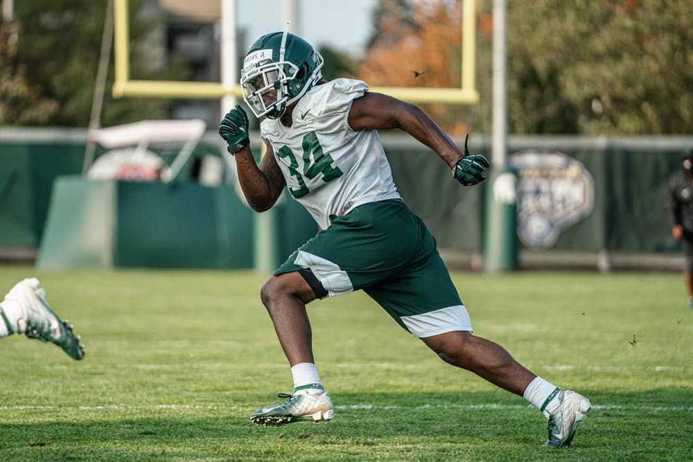 <p>Senior linebacker Antjuan Simmons at practice Sept. 21, 2020. Photo courtesy of Michigan State Athletic Communications.</p>