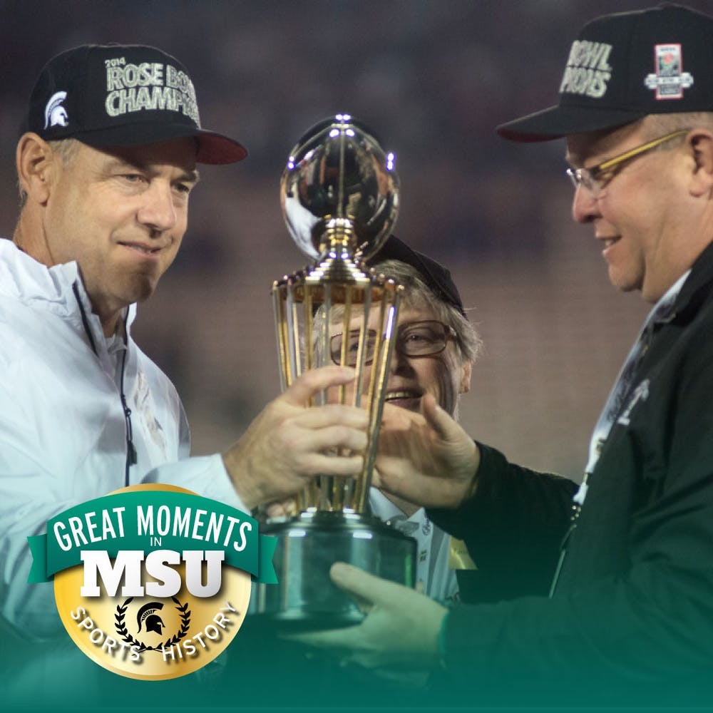 Former head coach Mark Dantonio, left, former MSU president Lou Anna K. Simon, middle, and former athletic director Mark Hollis, right, hold the trophy after the 100th Rose Bowl game against Stanford on Jan. 1, 2014, in Pasadena, California. The Spartans defeated the Cardinals, 24-20. Photo by Julia Nagy. Design by Daena Faustino.