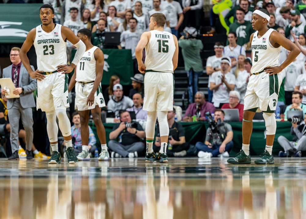 The Michigan State basketball team comes out onto the floor after a timeout during a game against Iowa. The Spartans defeated the Hawkeyes, 78-70, at the Breslin Student Events Center on February 25, 2020.