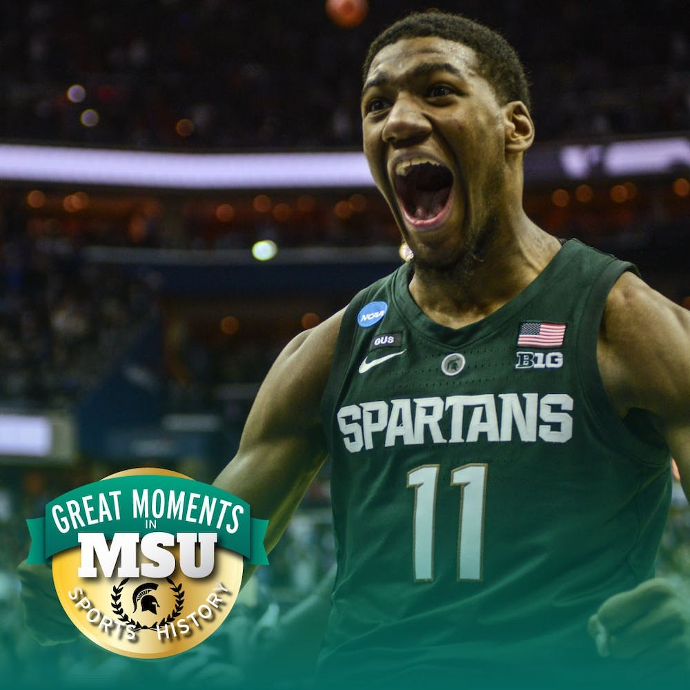 Then-freshman forward Aaron Henry (11) celebrates during the game against Duke at Capital One Arena on March 31, 2019. The Spartans defeated the Blue Devils, 68-67. The Spartans are the East Regional Winners and are headed to the Final Four. Photo by Annie Barker. Design by Daena Faustino.