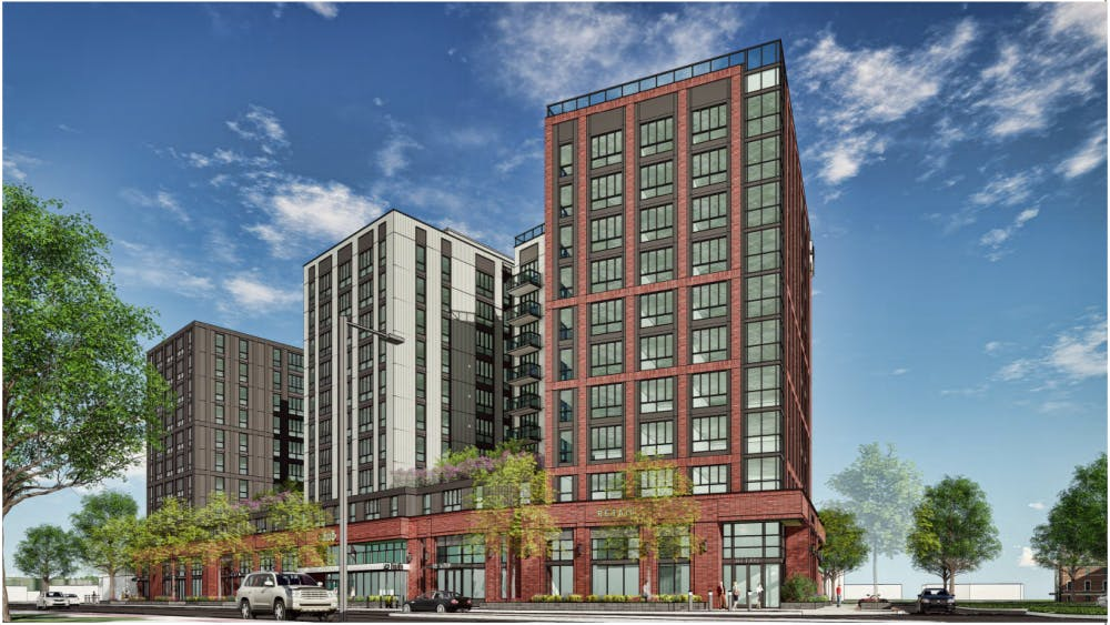 A rendering of the proposed apartment building at the corner of Grand River Avenue and Bogue Street.The 10-story mixed-use building would house 347 apartments. Photo courtesy of the City of East Lansing