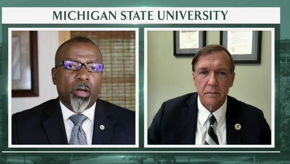 <p>President Stanley and MSU Professor of Strategic Communication Shawn Turner are pictured in a screenshot from a webcast that addressed faculty and staff concerns with MSU&#x27;s reopening plans. The webcast was held on July 7, 2020.</p>
