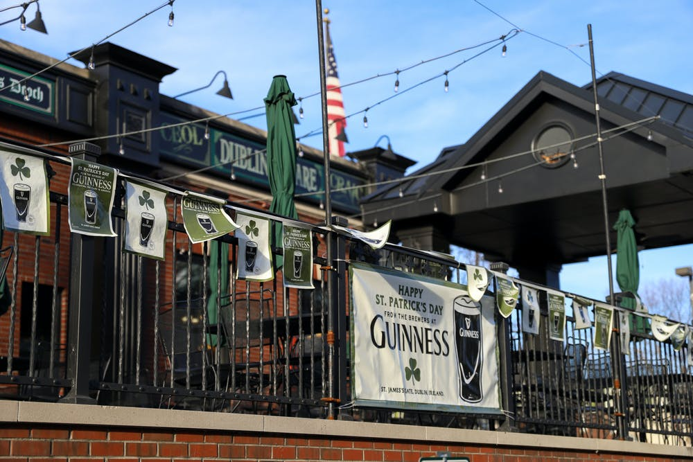 <p>March 14- East Lansing- Dublin Square Irish Pub &amp; Restaurant has St. Patrick&#x27;s Day decorations on the outside of the building.</p>