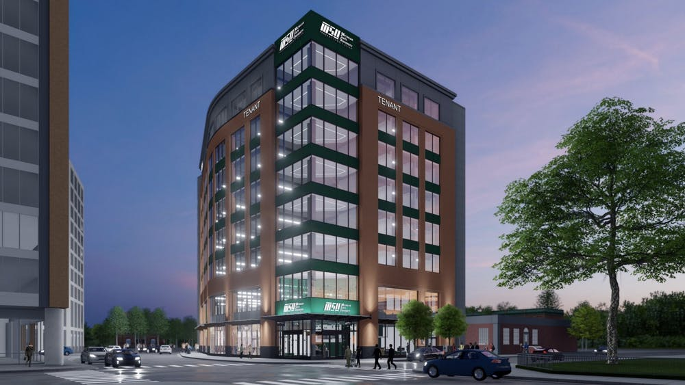 <p>A rendering of the proposed MSUFCU branch and innovation building. COURTESY OF EAST LANSING.</p>