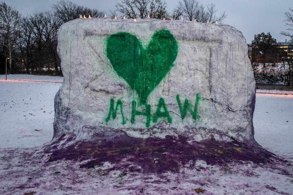 <p>The Rock on Farm Lane painted for a candlelight vigil for ASMSU's Mental Health Awareness Week on Nov. 11, 2019.</p>