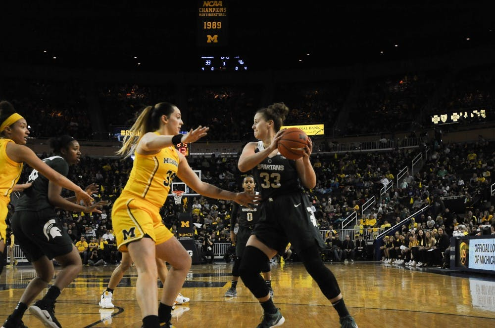 <p>Senior center Jenna Allen looks for her teammates on Jan. 27, 2019 at the Crisler Arena. The Spartans would defeat the Wolverines 77-73.</p>