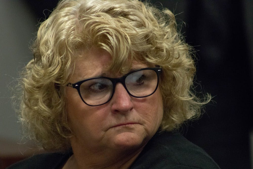 Ex-MSU gymnastics coach Kathie Klages during a preliminary hearing at 54-A District Court on Sept. 27, 2018. Klages is charged with two counts of lying to a peace officer.