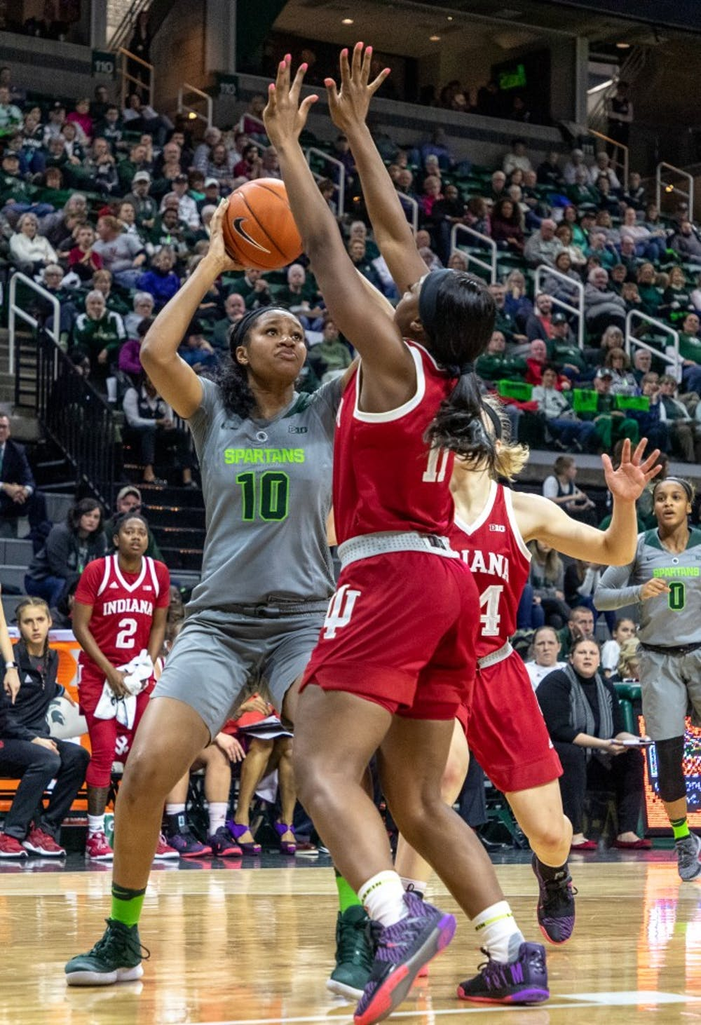 Freshman forward Sidney Cooks (10) takes a shot during the game against Indiana on Feb.11, 2019. The Spartans lead the Hoosiers 33-30 at halftime.