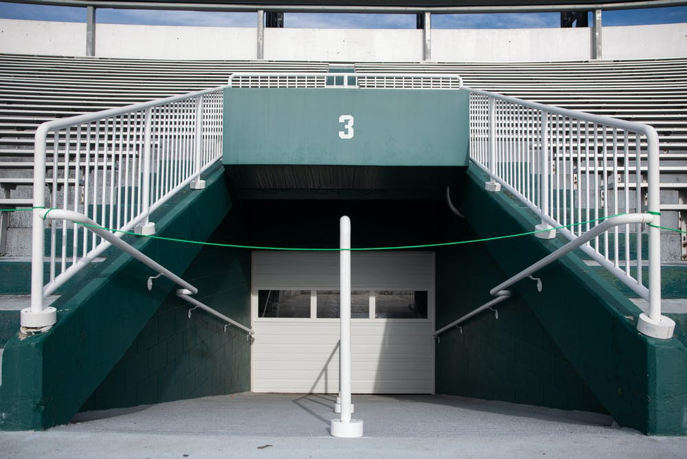 <p>Gate 3, like others in Spartan Stadium, is shut during a football game against Indiana University at Spartan Stadium on Nov. 14, 2020, due to COVID-19 measures.</p>