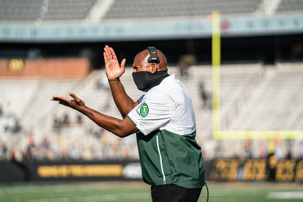 <p>Michigan State head football coach Mel Tucker at the Spartans&#x27; game against Iowa on Nov. 7, 2020. Photo Courtesy of MSU Athletic Communications.</p>