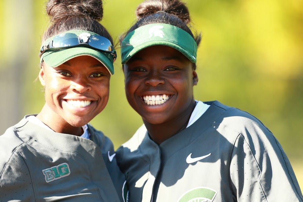 <p>Senior outfielder Ebonee Echols (left) and freshman catcher Charla Echols (right) pose for a photo together.  Photo courtesy of Rey Del Rio / MSU Athletic Communications</p><p></p><p></p>