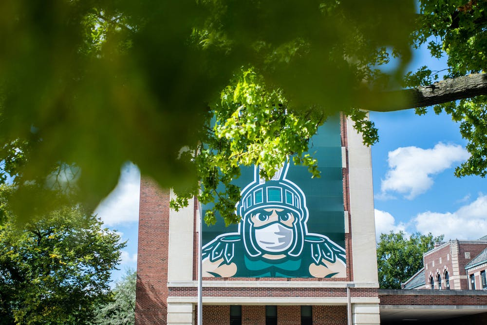 Campus on Sept. 18, 2020. MSU has put up large posters around campus to encourage students and the community to practice social distancing and wear masks.