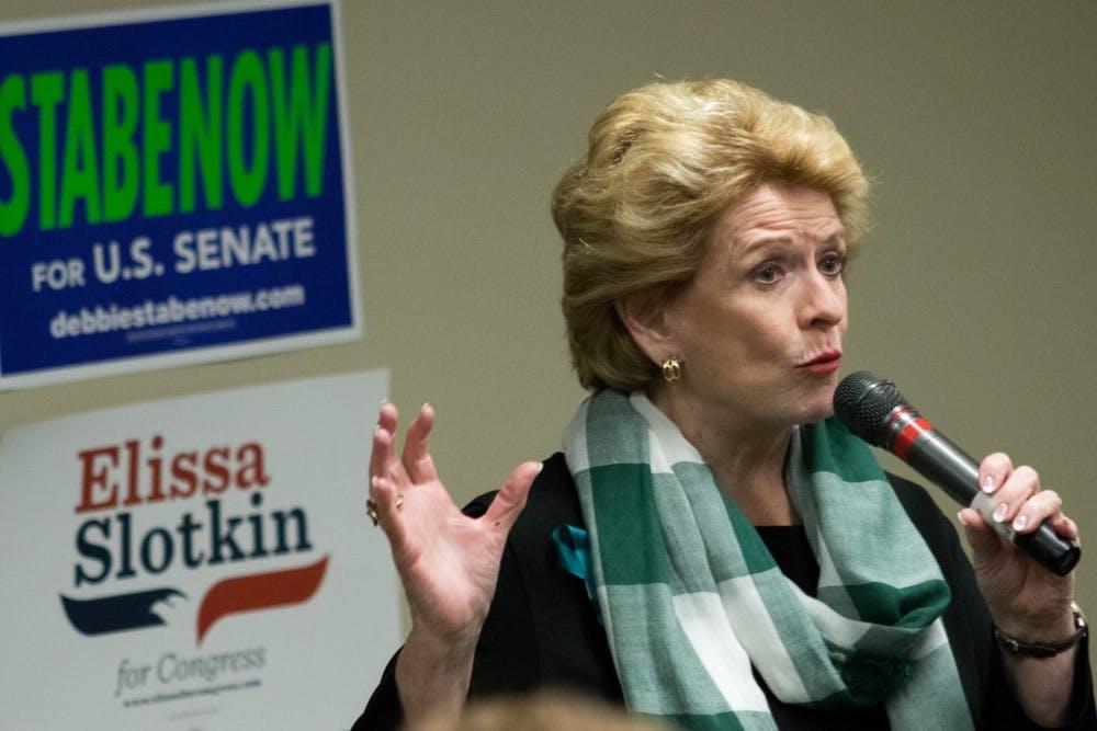 Senator Debbie Stabenow speaks to the MSU College Democrats at the MSU Union on Sept. 19, 2018.