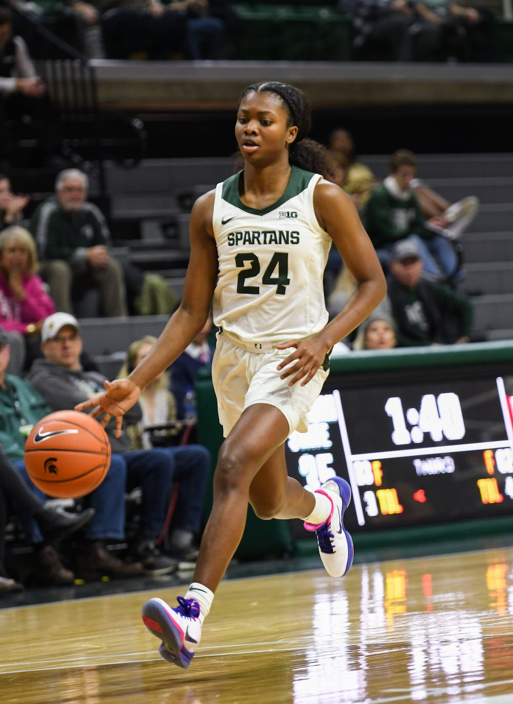 <p>Sophomore guard Nia Clouden (24) during the women&#x27;s basketball game against Rutgers at the Breslin Center on Feb. 13, 2020. The Spartans ended a five game losing streak and defeated the Scarlet Knights 57-53. </p>