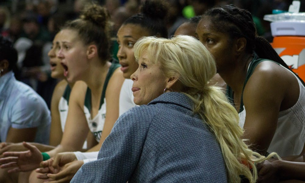 Coach Suzy Merchant watches the game against Lake Superior State on Nov. 5, 2017 at Breslin Center. The Spartans defeated the Lakers 111-37.