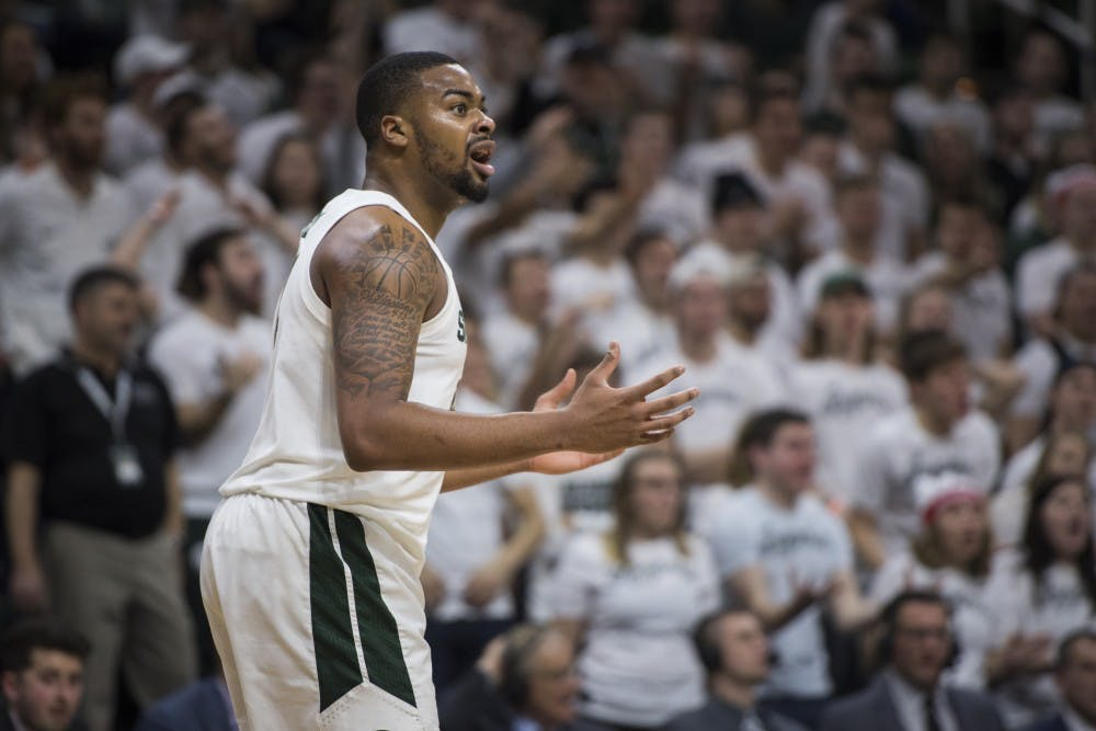 Junior forward Nick Ward (44) reacts to a call during the men's basketball game against Indiana on Feb. 2, 2019 at Breslin Center. Michigan State lost to Indiana in overtime 79-75. Nic Antaya/The State News