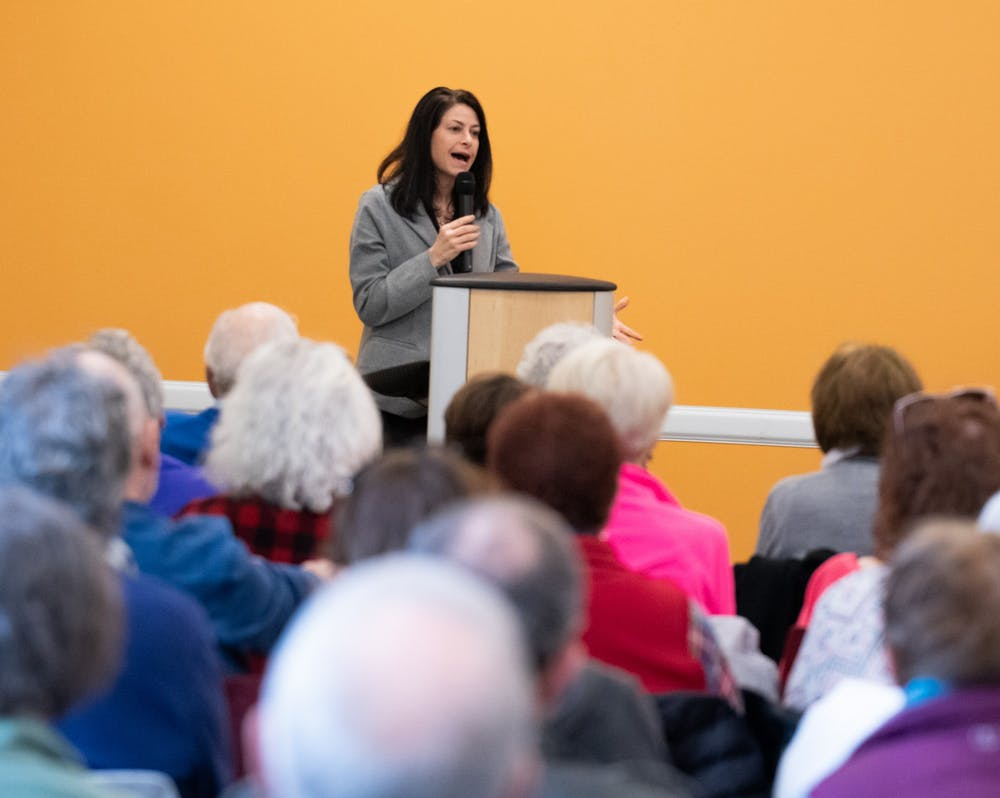 <p>Attorney General Dana Nessel speaks at the East Lansing Public Library on Feb. 23, 2020.</p>