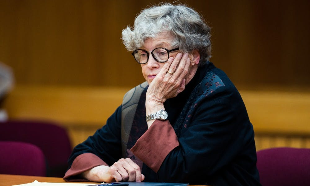 <p>Former MSU President Lou Anna K. Simon before the seventh day of her preliminary examination on July 23, 2019, at the Eaton County Courthouse. </p>