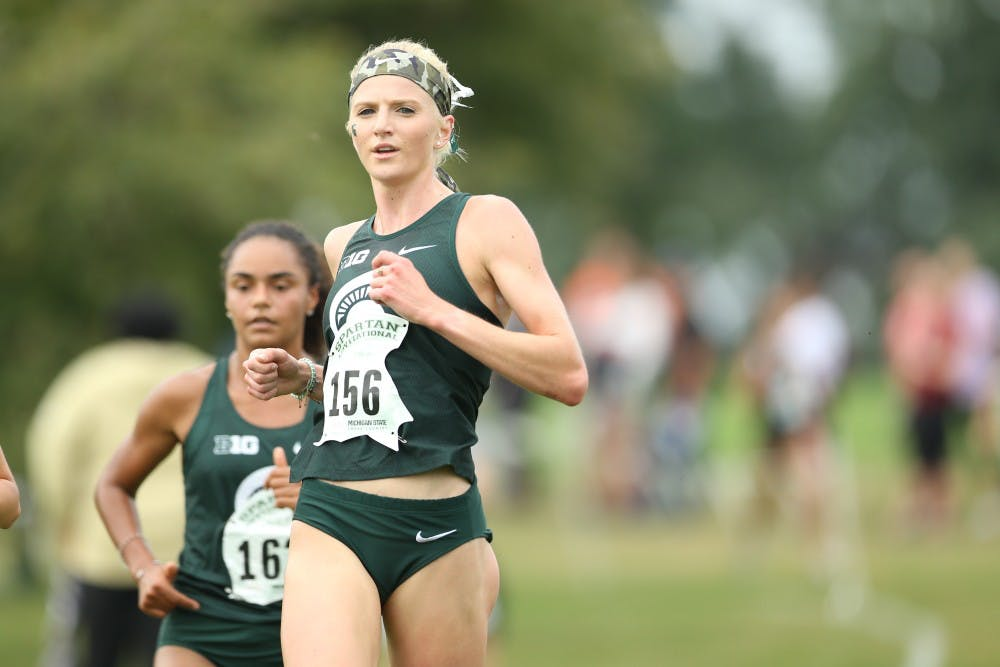 <p>Annie Fuller runs during the 39th annual Spartan Invitational on Sept. 13, 2019 at Forest Akers East Golf Course. (Photo courtesy of MSU Athletic Communications)</p>