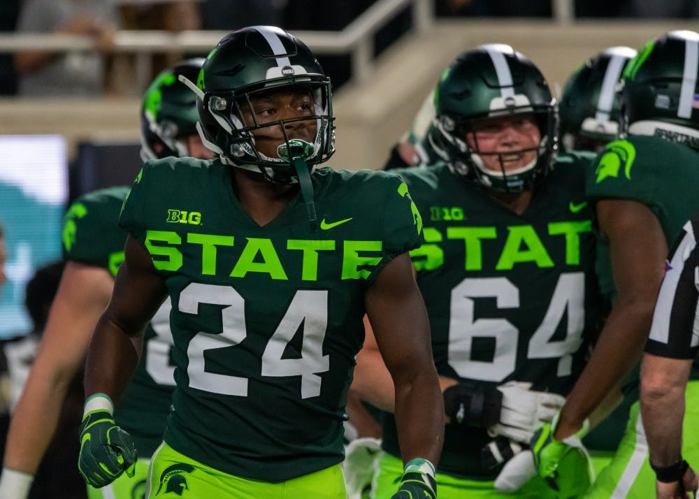 <p>Freshman running back Elijah Collins (24) during MSU&#x27;s game against Western Michigan. The Spartans defeated the Broncos, 51-17, at Spartan Stadium on Sept. 7, 2019. </p>