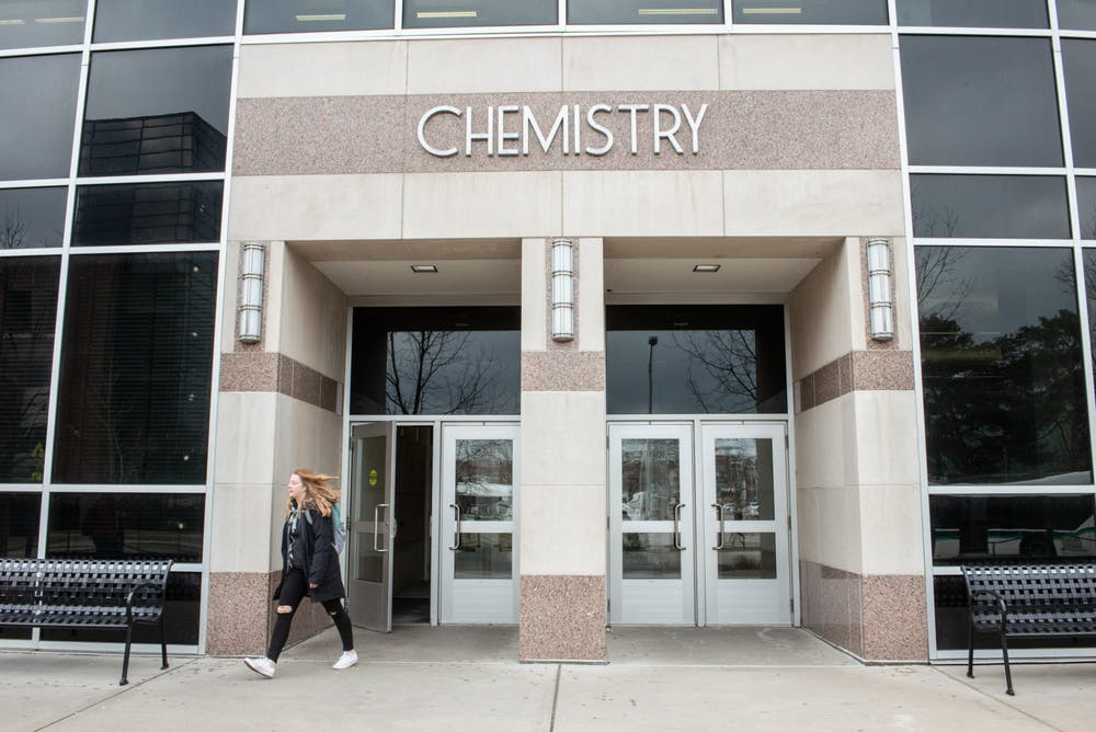 <p>A student leaves the chemistry building after an email is released notifying students that classes after noon have been cancelled on March 11, 2020.</p>