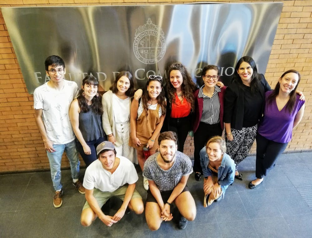 <p>MSU professor Rachel Mourão and Pontifical Catholic University of Chile professor Magdalena Saldaña are pictured with the seven students and two faculty members chosen to attend the investigative journalism workshop held at MSU. Photo courtesy of Magdalena Saldaña. </p>