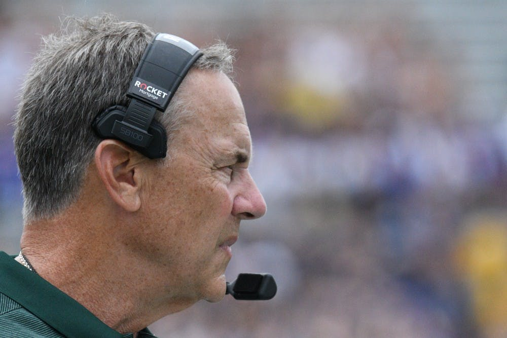 Michigan State head coach Mark Dantonio during the game against Northwestern at Ryan field on September 21, 2019. MSU defeated Northwestern 31-10.