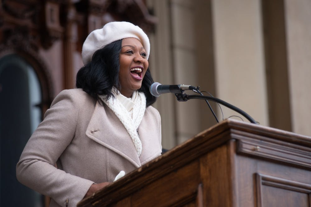 <p>Sarah Anthony, State Representative for Michigan&#x27;s 68th district, greets the crowd during the Women's March On Lansing 2020 on Jan. 18, 2020, hosted by the Blue Brigade.</p>