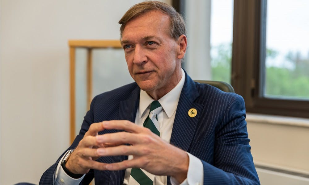 <p>Doctor Samuel Stanley Jr. interviews with The State News at the Hannah Administration Building on May 28, 2019. </p>