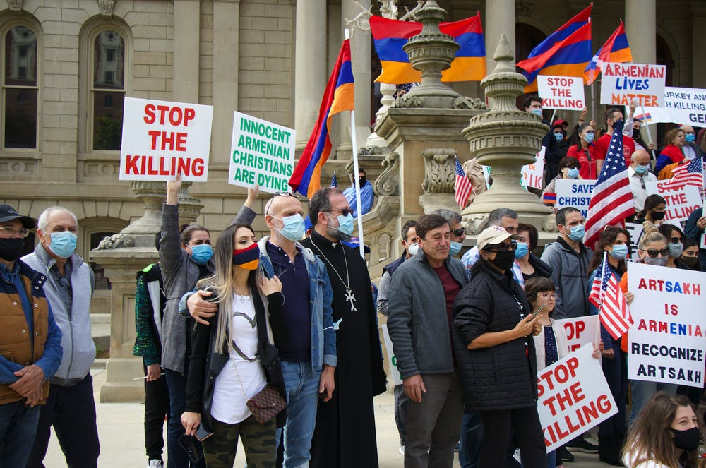 <p>Protesters gather at the state Capitol in support of Armenia on Oct. 11, 2020.</p>